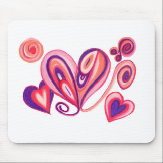 Pink Purple Love Hearts Mouse Pad