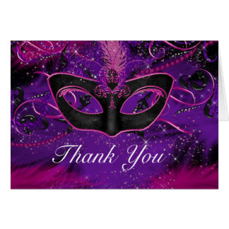 Pink & Purple Mask Masquerade Thank You Card