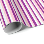 [ Thumbnail: Pink, Purple & Mint Cream Colored Lined Pattern Wrapping Paper ]