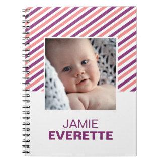 Pink purple modern stripes custom photo journal spiral note book