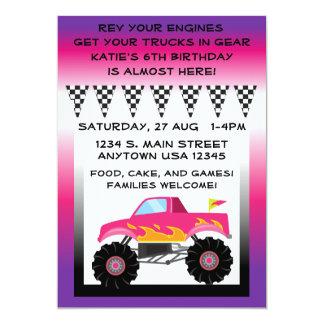 "Pink & Purple Monster Truck 5"" x 7"" Invitations"
