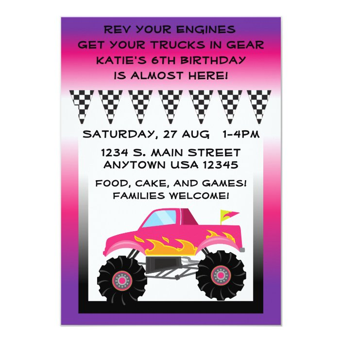 Pink Purple Monster Truck 5 X 7 Invitations Zazzle Com