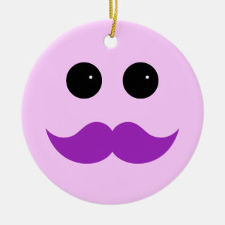 Pink Purple Mustache Smiley Emoticon Ceramic Ornament