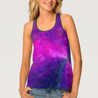 Pink, Purple & Navy Flame Pring Racerback Tank Top