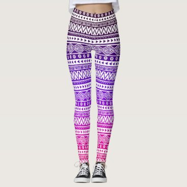 Beach Themed Pink Purple Ombre Aztec Chevron Tribal Leggings