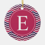 Pink Purple Ombre Chevron Monogram Christmas Tree Ornament