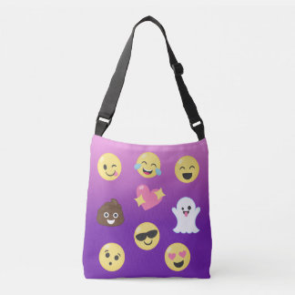 Pink & Purple Ombre Emoticons Cross Body Tote Bag