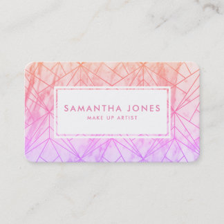 Pink Purple Ombre Pattern Make Up Artist Business Card