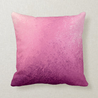 Pink Purple Ombré Watercolor Grunge Rustic Print Throw Pillow