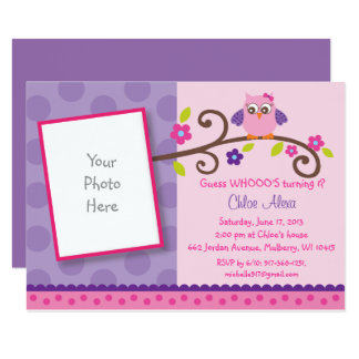 Pink & Purple Owl 1st Birthday Card