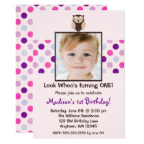 Pink Purple Owl 1st Birthday Girl Photo Invitation