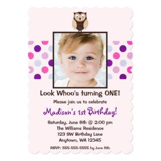 "Pink Purple Owl 1st Birthday Girl Photo 5"" X 7"" Invitation Card"