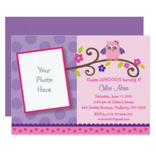 Owl birthday invitations zazzle pink purple owl 1st birthday invitation filmwisefo