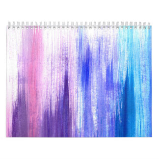 Pink Purple Paint Brush Strokes Painted Watercolor Calendar