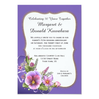 Pink Purple Pansies Gold Frame 50th Anniversary 5x7 Paper Invitation Card