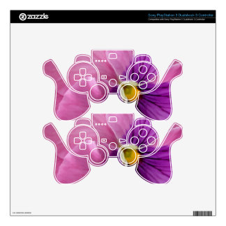 Pink Purple Pansy Flower PS3 Controller Skins