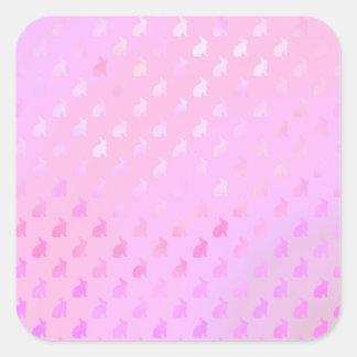 Pink Purple Pastel Bunny Background Faux Foil Square Sticker