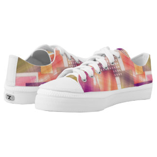 pink purple peach lime colorblock pattern printed shoes
