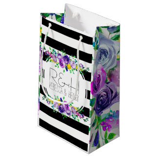 Pink & Purple Peonies  With  Black & White  Stripe Small Gift Bag