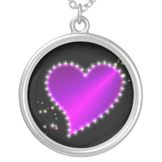pink purple pink rainbow heart with stars silver plated necklace