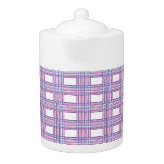 pink purple plaid teapot