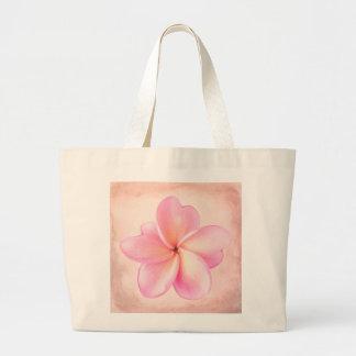 Pink Purple Plumeria Flower Pink Background Large Tote Bag