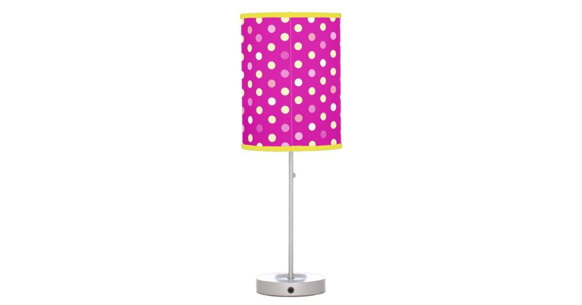 Pink purple polka dot girls bedroom lamp | Zazzle