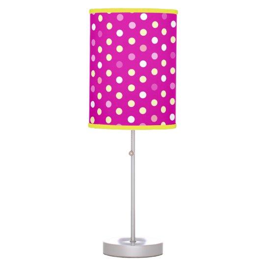 Pink purple polka dot girls bedroom lamp