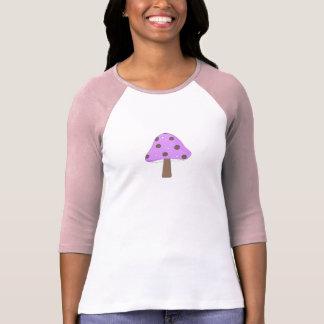 Pink Purple Polka-Dot Retro Mushroom Tee Shirt