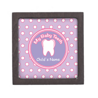 Pink & Purple Polka Dot Tooth Fairy Box Premium Jewelry Boxes