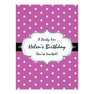 Pink Purple Polka Dots 30th Birthday Party Card