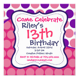 Pink Purple Polka Dots Birthday Party Invitations