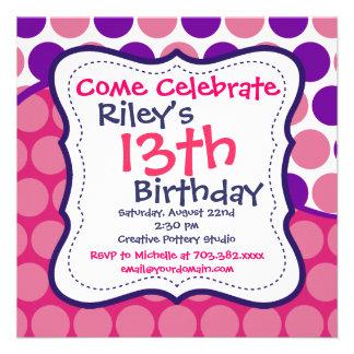Pink Purple Polka Dots Birthday Party Invitations