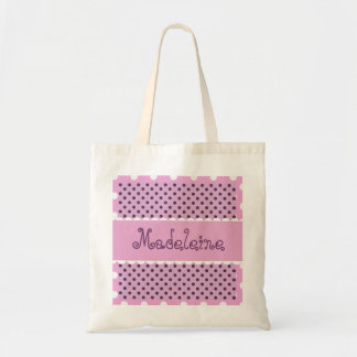 Pink Purple Polka Dots Bride or Bridesmaid V362 Tote Bag