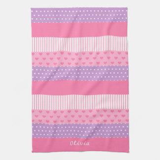 Pink Purple Polka Dots Stripes Hearts Pattern Kitchen Towels