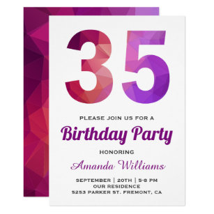 Pink Purple Polygon Geometric 35th Birthday Invite