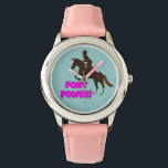 """Pink &amp; Purple Pony Power Watch<br><div class=""""desc"""">Awesome new  pink equestrian wrist watch with a pony jumping over the caption Pony Power!  Your little horse rider will love this on any occasion.</div>"""