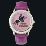 """Pink &amp; Purple Pony Power Watch<br><div class=""""desc"""">Awesome new  pink and purple equestrian wrist watch with a pony jumping over the caption Pony Power!  Your little horse rider will love this on any occasion.</div>"""