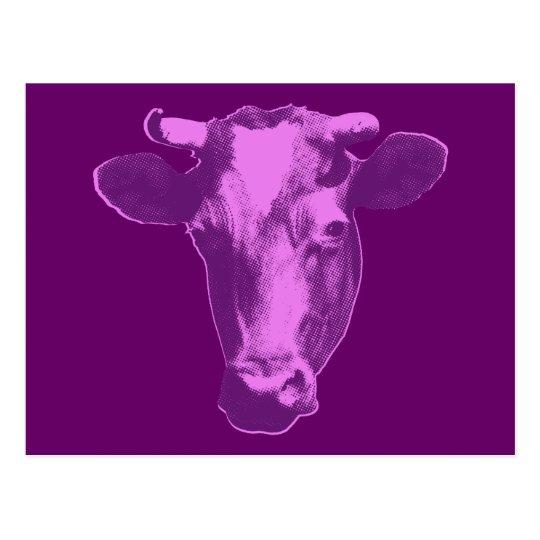Pink & Purple Pop Art Cow Postcard