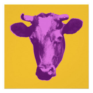 Pink & Purple Pop Art Cow Poster