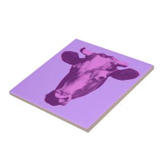 Pink & Purple Pop Art Cow Tile