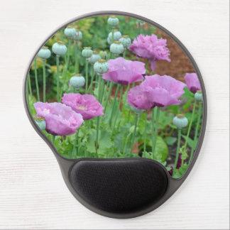 Pink purple poppies print gel mousepad