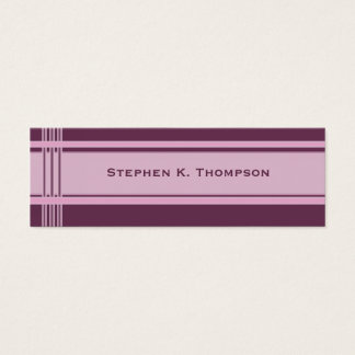 Pink Purple Professional Stripes Block Mini Business Card
