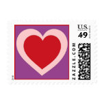 Pink purple red heart simple postage stamps