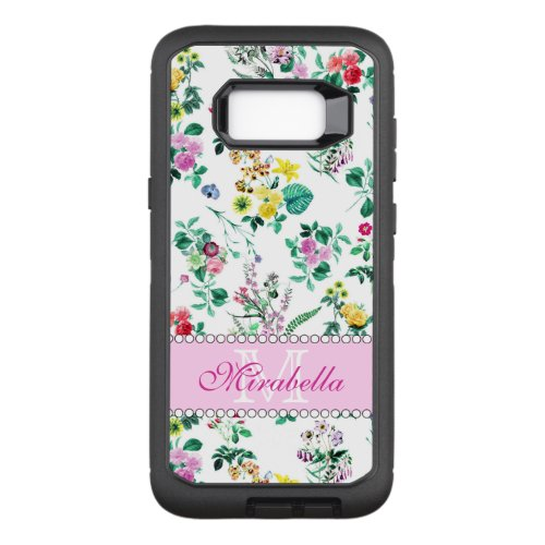 Pink purple red yellow wildflowers & roses, name Phone Case