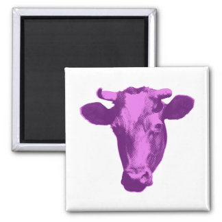 Pink & Purple Retro Cow Graphic 2 Inch Square Magnet