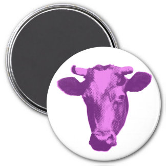 Pink & Purple Retro Cow Graphic 3 Inch Round Magnet