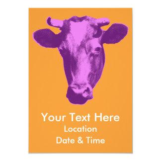 Pink & Purple Retro Cow Graphic Card