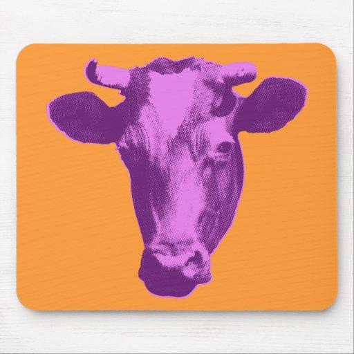Pink & Purple Retro Cow Graphic Mousepads