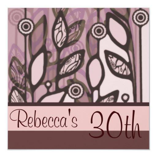 Pink & Purple Retro Floral Invitation